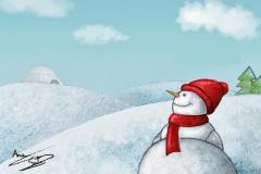 muñeco nieve postal